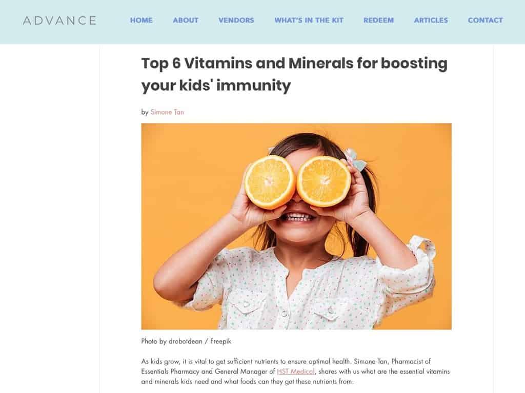 Tampok sa Advance Kids SIngapore - Nangungunang 6 mga bitamina at mineral para sa kaligtasan sa sakit ng mga bata